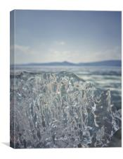 A piece of crystal transparent ice in the hand aga, Canvas Print