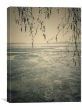 Spring landscape with ice drift on the lake.  , Canvas Print