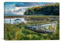 A Colourful Old Boat - Laugharne Estuary. , Canvas Print