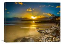 A Winter Sunset at Amroth Beach., Canvas Print