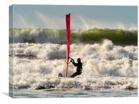 The Windsurfer and the High Wave, Canvas Print