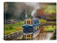 Canal Boat on Brecon and Monmouthshire Canal., Canvas Print