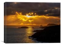 Sunset at St Non's Bay, Pembrokehsire, Wales., Canvas Print