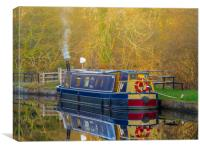 Canal Boat in Winter., Canvas Print