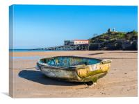 Boat on the North Beach, Tenby, Canvas Print