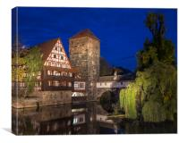 Weinstadel House and Pegnitz River in Nuremberg, Canvas Print