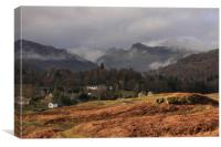 Elterwater and View of Langdale Pikes, Canvas Print