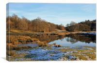 The River Brathay in Winter, near Elterwater, Canvas Print