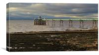 Late evening sun on Clevedon Pier                 , Canvas Print