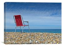 Waiting at Weybourne Red Chair left on the Beach, Canvas Print