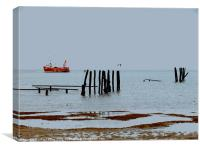 """Harvesting Mussels in the Wash Norfolk - """"Whitby C, Canvas Print"""