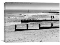 """Just we two"" - walkers on Cromer Beach , Canvas Print"