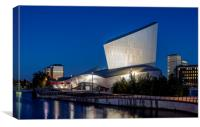 Night shot, Imperial War Museum, Salford Quays, Canvas Print