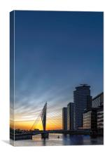 Night descends on Salford, Canvas Print