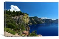Crater Lake And Lava Cliff, Canvas Print