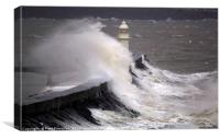 Brixham Breakwater Lighthouse in a November Storm, Canvas Print