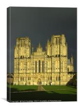 Wells Cathedral in Storm Lighting, Canvas Print