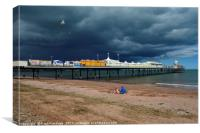 Paignton Pier with Storm Approaching            , Canvas Print