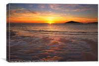 Sunset over Burgh island, Canvas Print