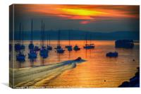 Brixham Inshore Lifeboat at Sunset                , Canvas Print