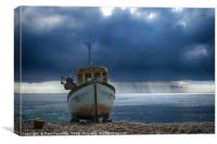 Beached Fishing Boat at Beer                    , Canvas Print