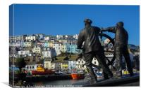 The Man and Boy Statue in Brixham                 , Canvas Print