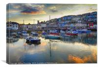 Brixham Harbour in Late Evening       , Canvas Print