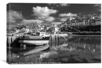 Brixham Middle Quay Mono, Canvas Print