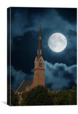 Red Stucco Steeple Rising in Moonlit Night, Canvas Print