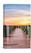 Adirondack Chairs at End of Pier, Canvas Print