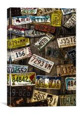 License Plates on Old Wall, Canvas Print