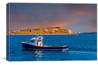 Fishing Boat Past Small Lighthouse, Canvas Print