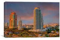 Two Colorful High Rise Tropical Condos, Canvas Print
