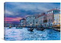 Gondolas in Dusk Canal, Canvas Print