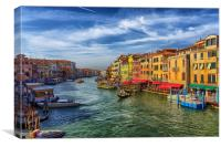 Gondolas in Grand Canal from Rialto Bridge, Canvas Print