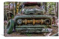 Green Ford Pickup with Massive Grill, Canvas Print
