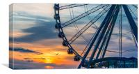 Seagull by Wheel at Sunset, Canvas Print