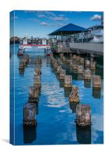 Old Pilings into Barbuda Express, Canvas Print