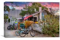 Early Morning at Palm Coast Cafe, Canvas Print