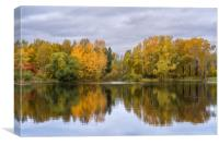 The lake, reflecting the cloudy sky and autumnal f, Canvas Print