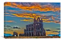 Dramatic sky's sunset whitby abbey, Canvas Print