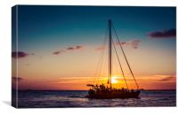 Sailing Sunset in Hawaii 0010, Canvas Print