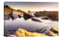 Widemouth Bay in North Cornwall sunset, England, Canvas Print
