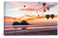 Hot air balloons over Hua Hin beach, Trang, Thaila, Canvas Print