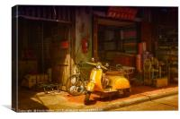 Yellow scooter, Canvas Print