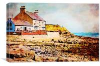 Digital water colour of old cafe in Benllech Bay, Canvas Print