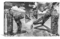 Stumps of an old pier in Hua Hin,, Canvas Print