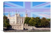 The Tower of London with Union Jack superimposed. , Canvas Print