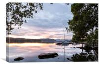 Sunset Over Lake Windermere, Canvas Print