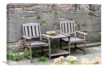 Terrace with wooden Seats and table, Canvas Print